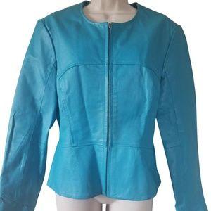 Shape FX Turquoise Leather Moto Jacket